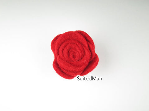 Lapel Flower, Felt, Rose, Red