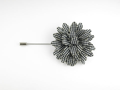 Lapel Flower, Gingham, Black/White