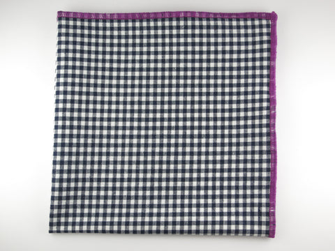 Pocket Square, Gingham, Navy/Plum