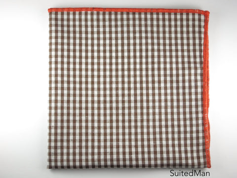 Pocket Square, Gingham Small, Brown