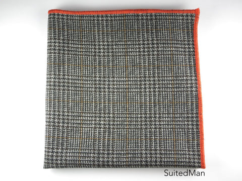 Pocket Square, Plaid, Black/Tan with Tangerine Embroidered Edge