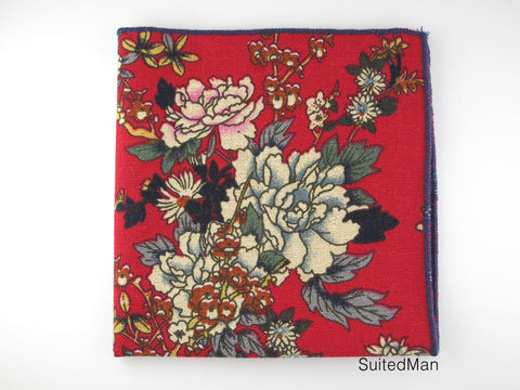 Pocket Square, Red Peonies