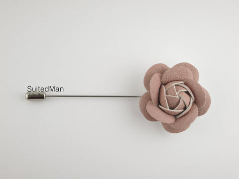 Lapel Flower, Petite Leather Camellia, Dusty Pink