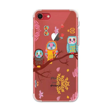 AMZER Soft Gel Clear TPU Case for Apple iPhone 7/ iPhone 8 - Owls On Branch