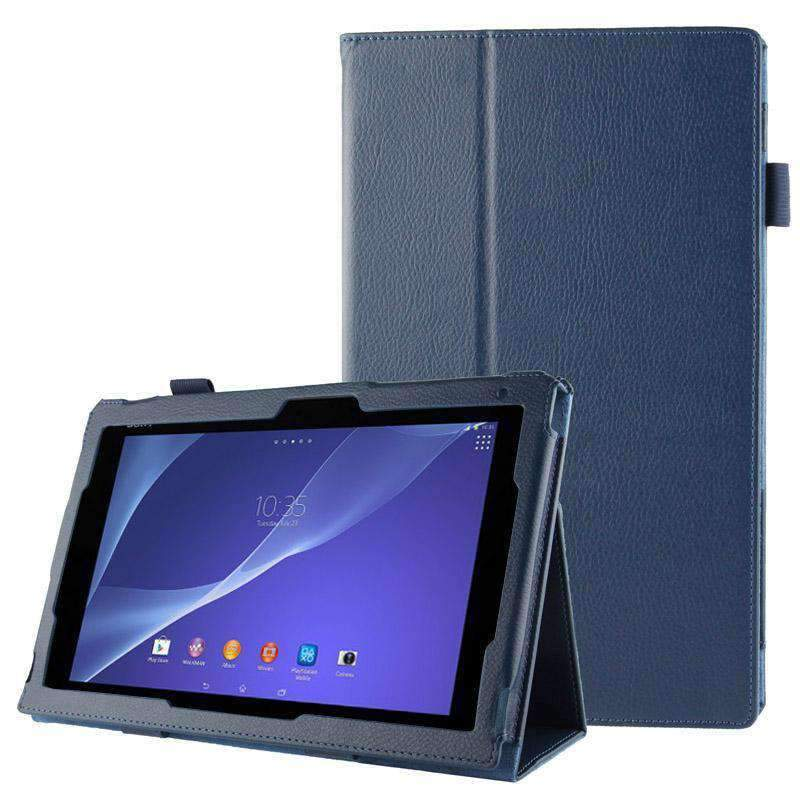 AMZER Texture Leather Case with Holder For Sony Xperia Tablet Z2 10.1 - Dark Blue - amzer