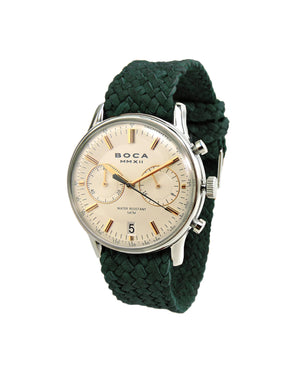 Metropole Chrono Beige with Forest Green Wristband - BOCA MMXII - Official website