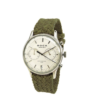 Metropole Chrono Silver with Olive Wristband - BOCA MMXII - Official website