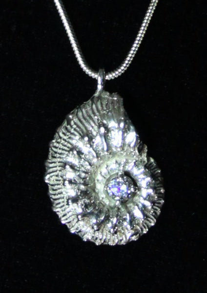 P-003 Ammonite Fossil with cubic zirconia