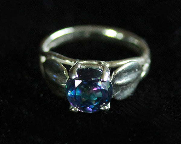 R-1008 Sterling Silver Leaf Ring / Mystic Topaz