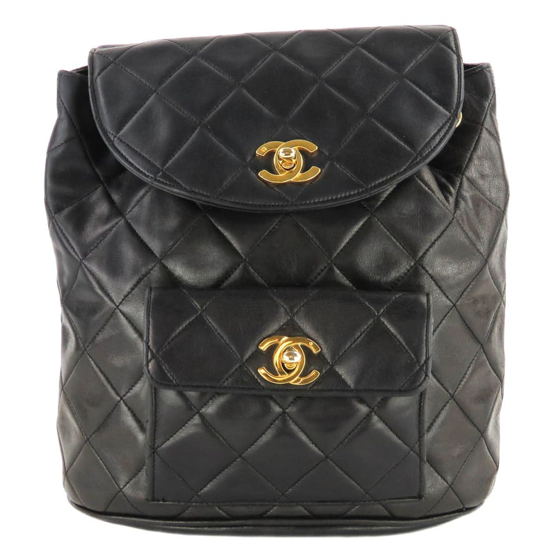 Chanel Black Quilted Lambskin Leather Vintage CC Small Backpack - Backpacks
