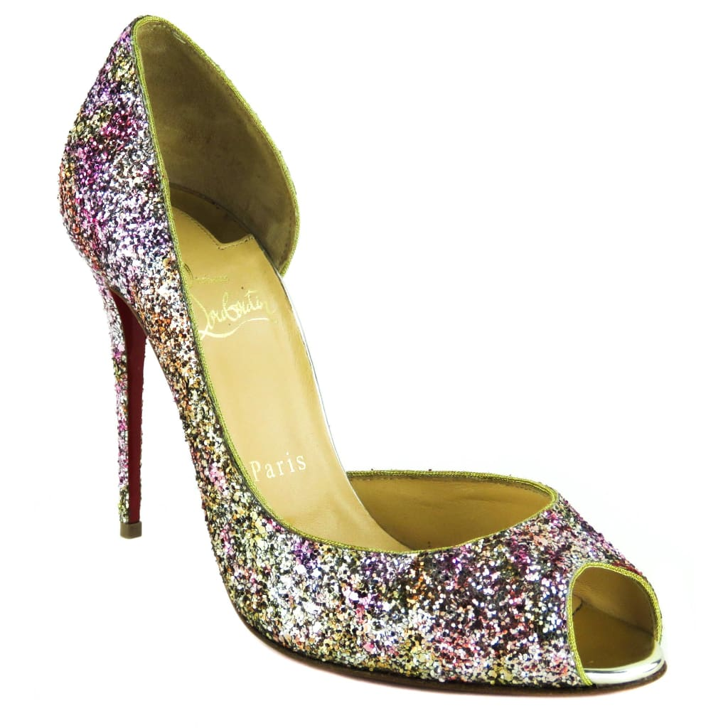Christian Louboutin Multicolor Glitter Demi You 100 DOrsay Peep Toe Pumps - Heels