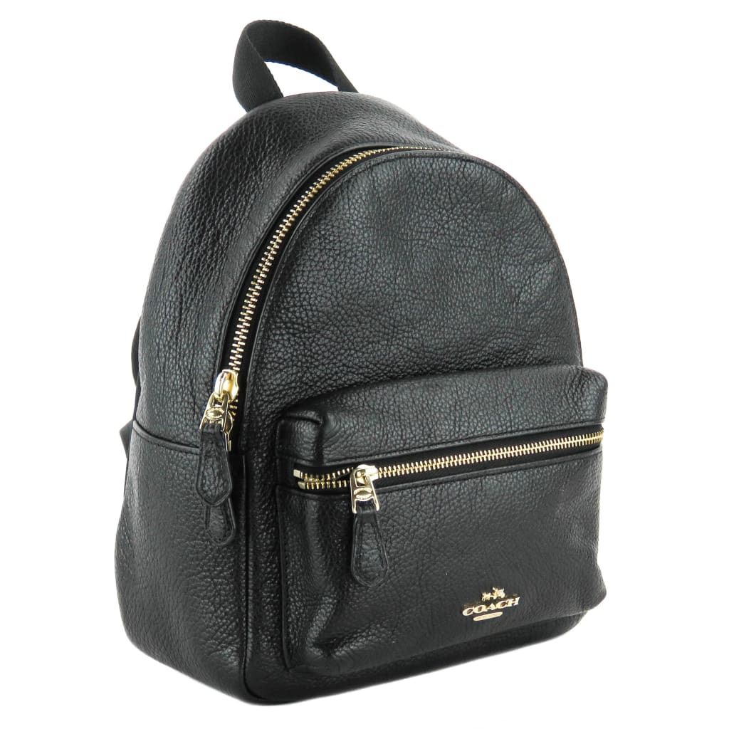 Coach Black Pebbled Leather Mini Charlie Backpack - Backpacks