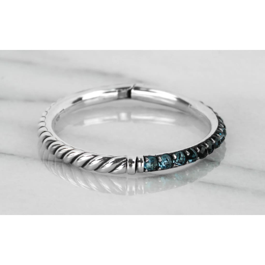 David Yurman Blue Topaz Sterling Silver Cable Bernes Bangle Bracelet - Bracelet