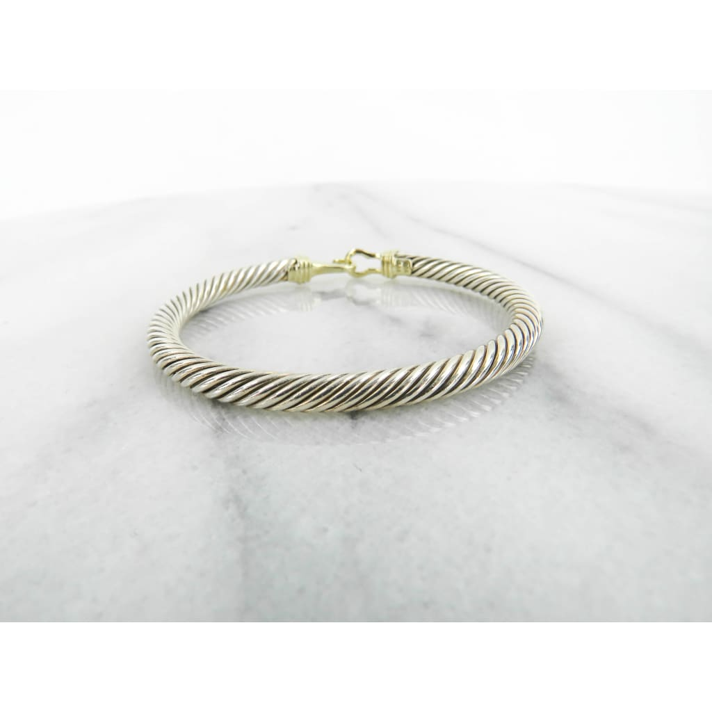 David Yurman Sterling Silver 18K Yellow Gold Cable Buckle Bracelet - Bracelet