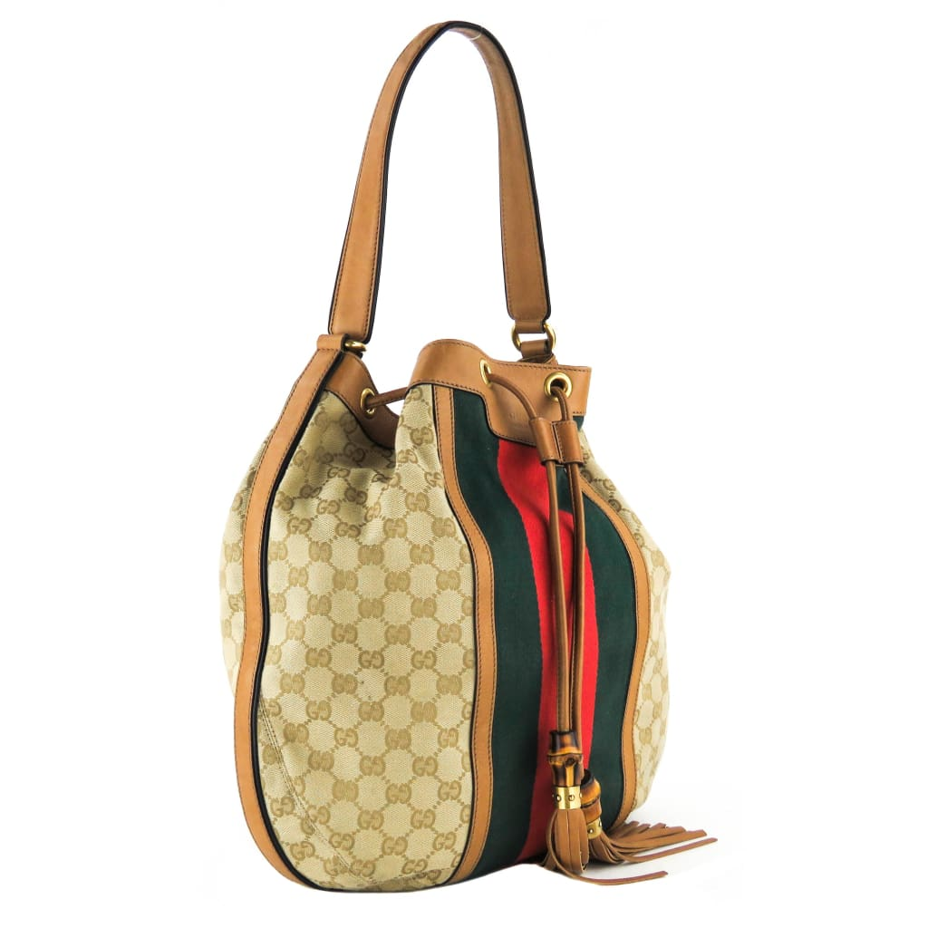 Gucci Beige GG Canvas Rania Drawstring Web Shoulder Bag - Shoulder Bags