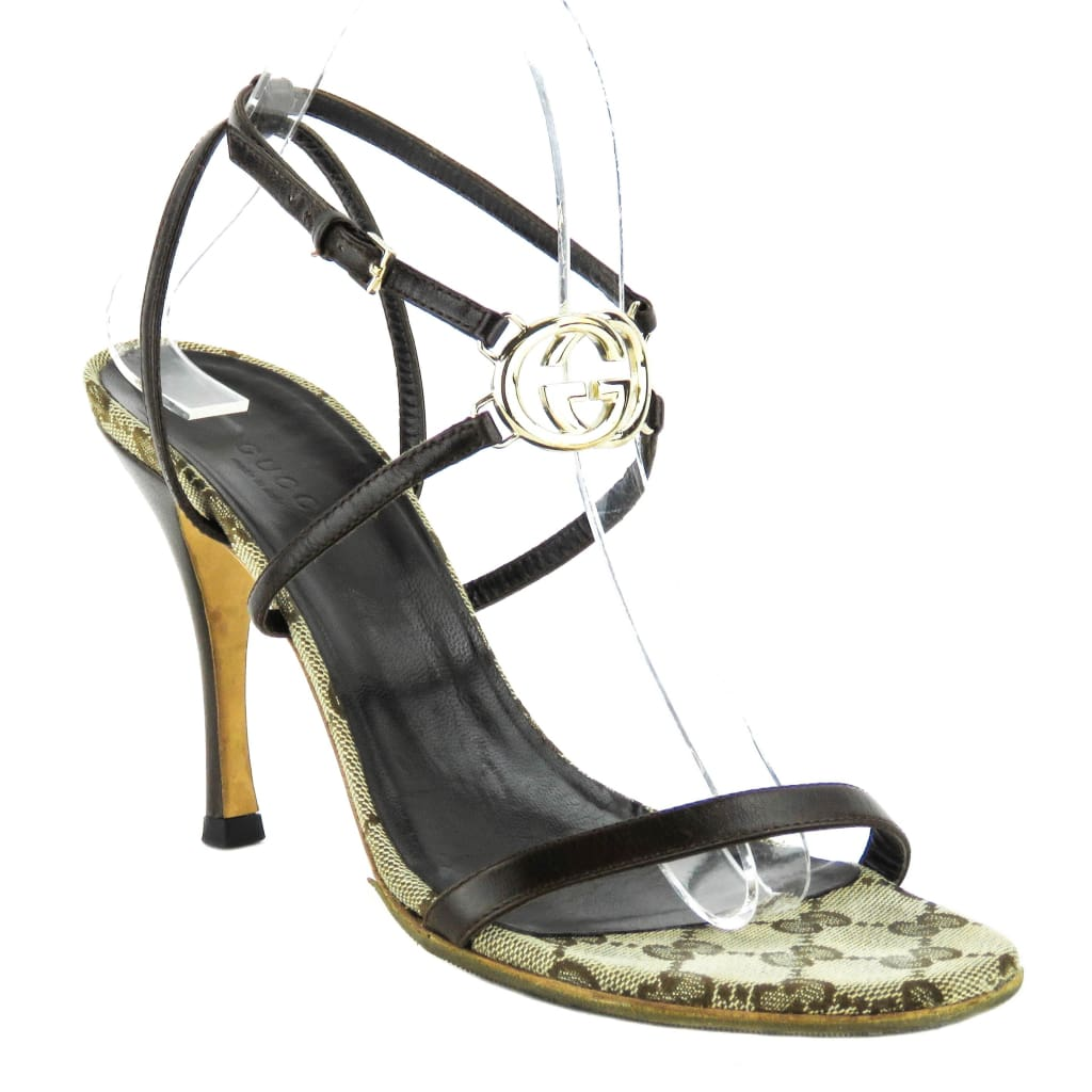 Gucci Brown Leather GG Monogram Sandal Heels - Heels