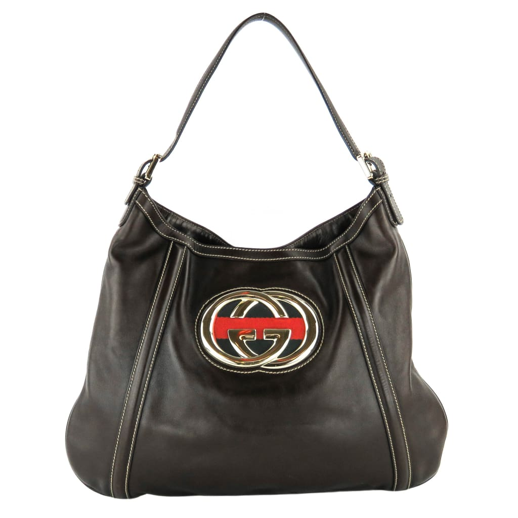 Gucci Brown Leather Medium Britt Web Hobo Bag - Hobo Bags