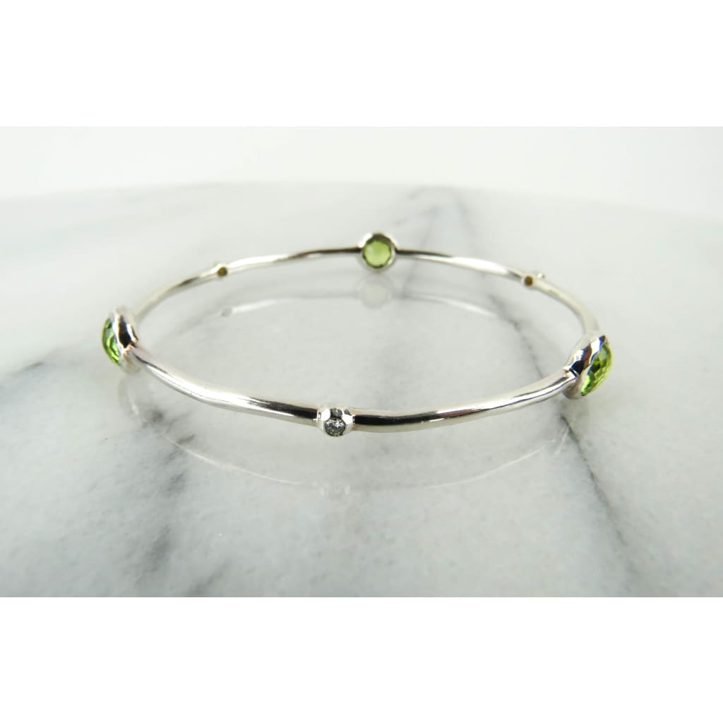 Ippolita Peridot Diamond Sterling Silver 3 Station Bangle Bracelet - Bracelet