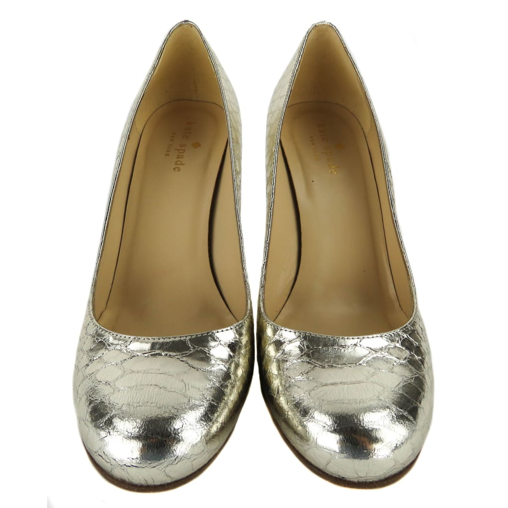 Kate Spade Gold Metallic Embossed Leather Karolina Heels - Heels
