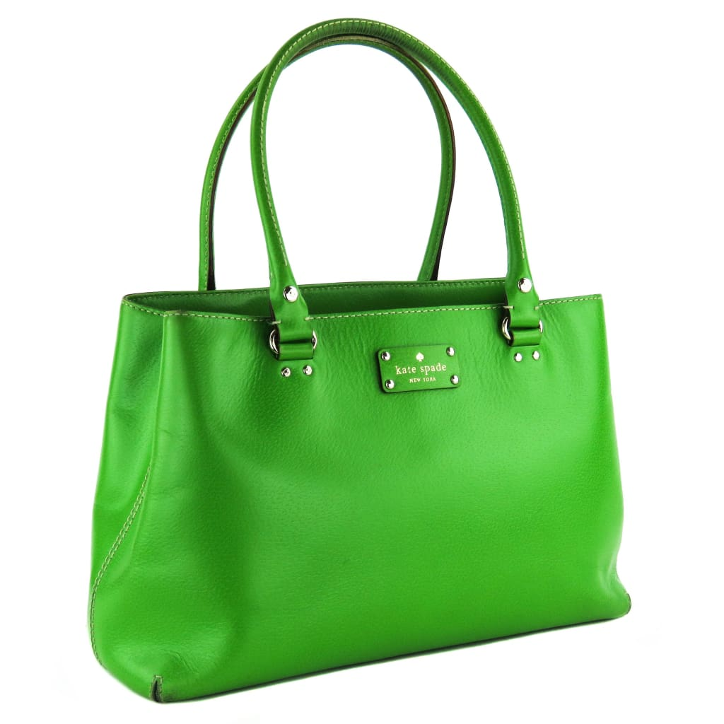 Kate Spade Lime Green Leather Elena Wellesley Tote Bag - Totes