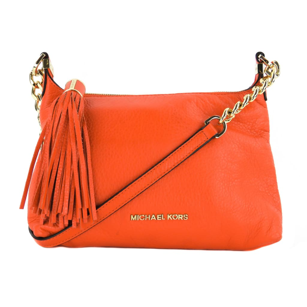 Michael Kors Orange Leather Small Weston Tassle Crossbody Bag - Crossbodies