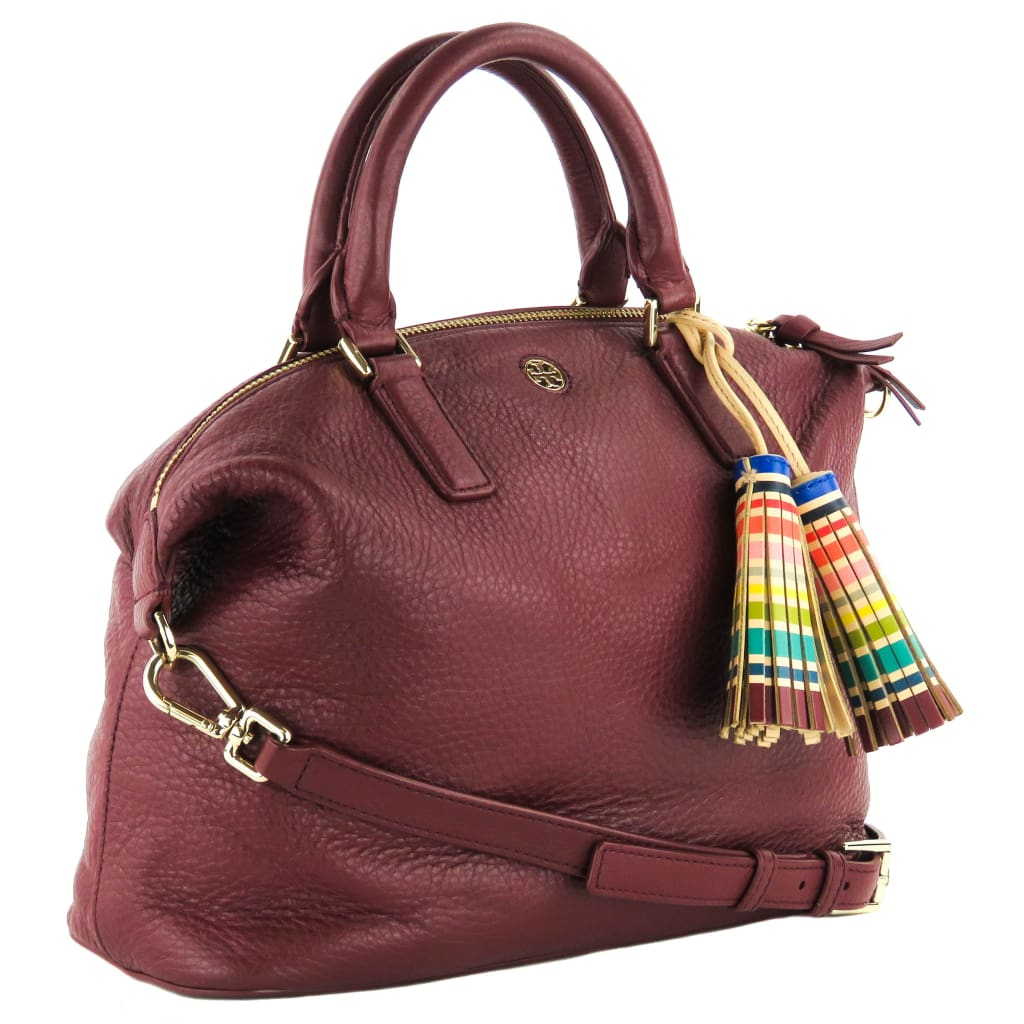 Tory Burch Burgundy Leather Multicolor Tassel Small Slouchy Satchel Bag - Satchels
