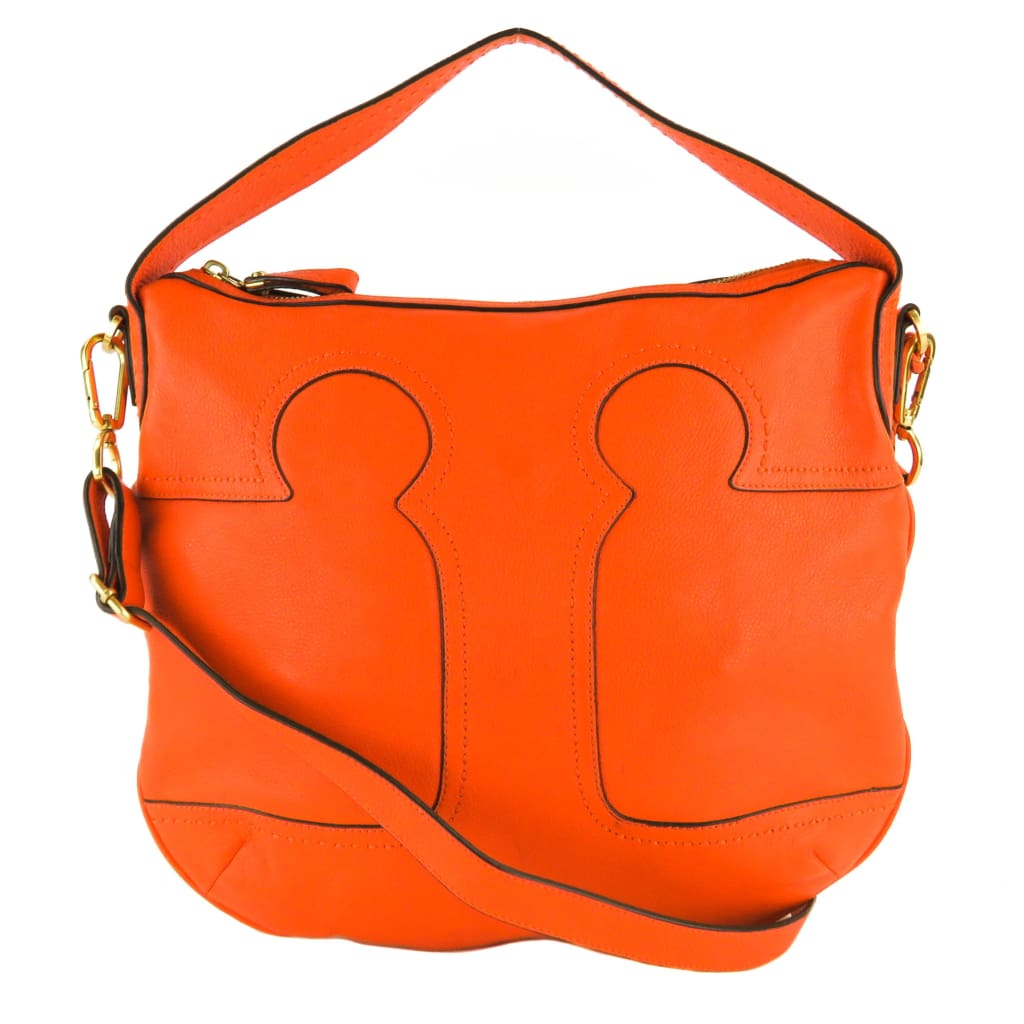 Tory Burch Orange Leather Amalie Adjustable Hobo Bag - Hobo Bags