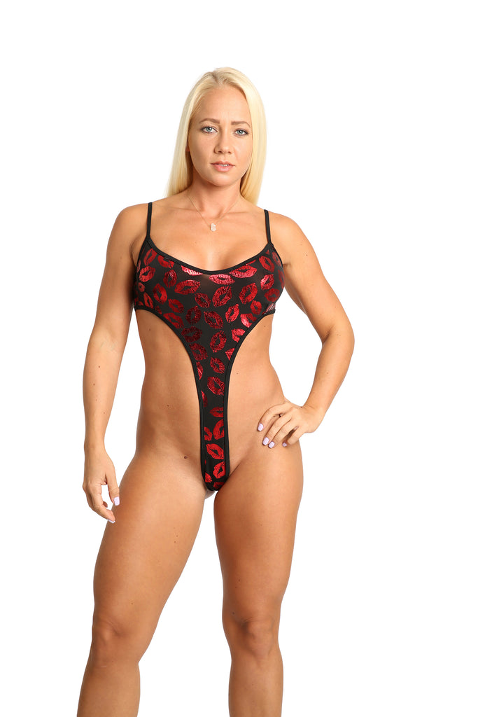 Sassy Red Lips Monokini Stripper Outfit