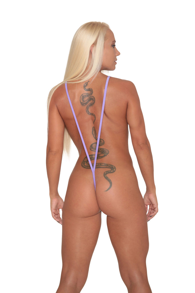 Silver Hologram-Purple Trim Slingshot Bikini-Stripper Clothing