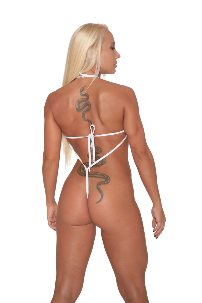 White Metallic Sheer Mesh Exotic Sling Shot-Stripper Clothes