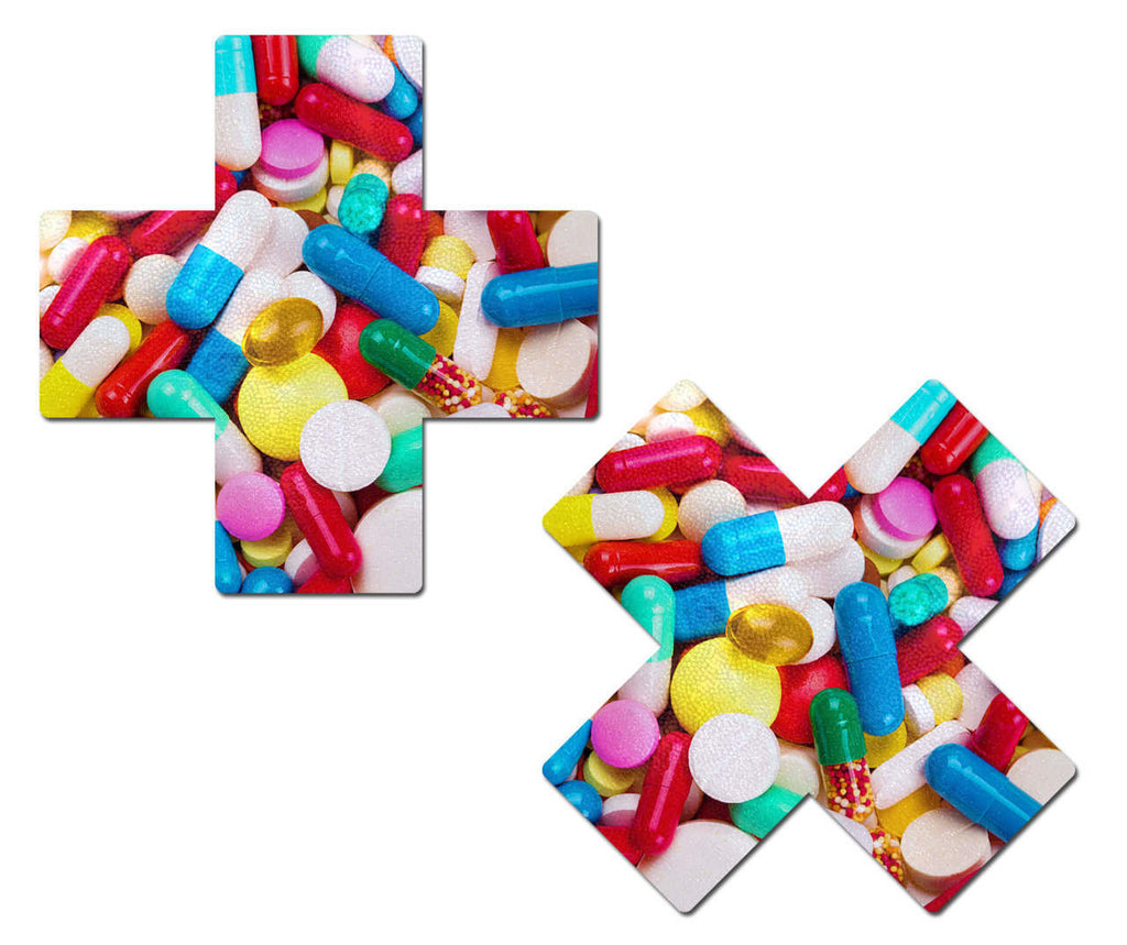 Multicolor Prescription Pill Cross Nipple Pasties