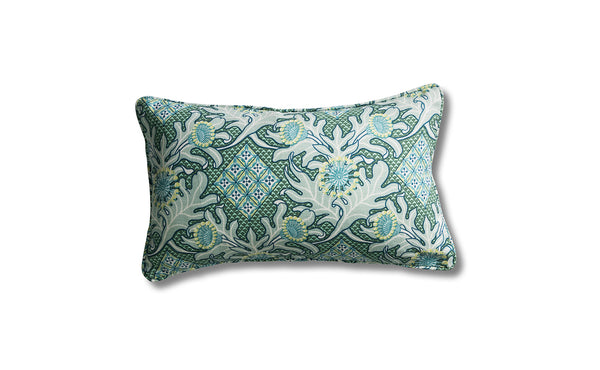 30 x 50 Firewheel Trellis Ocean Heavyweight Linen Piped Cushion Cover
