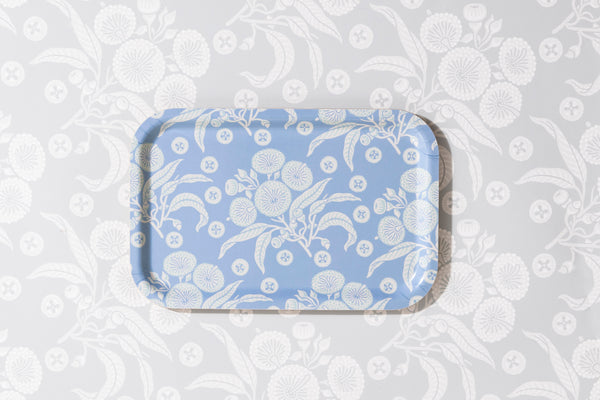 Native Posy Powder Blue Rectangle Tray 21/33cm