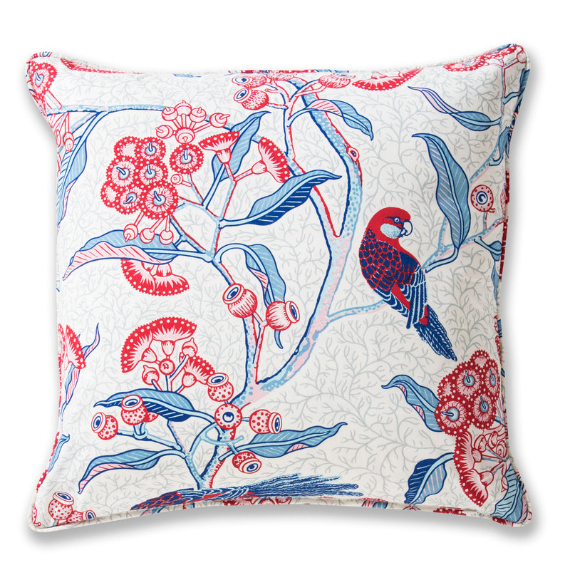 Rosella Red Cotton Poplin Piped 50 x 50 Cushion Cover