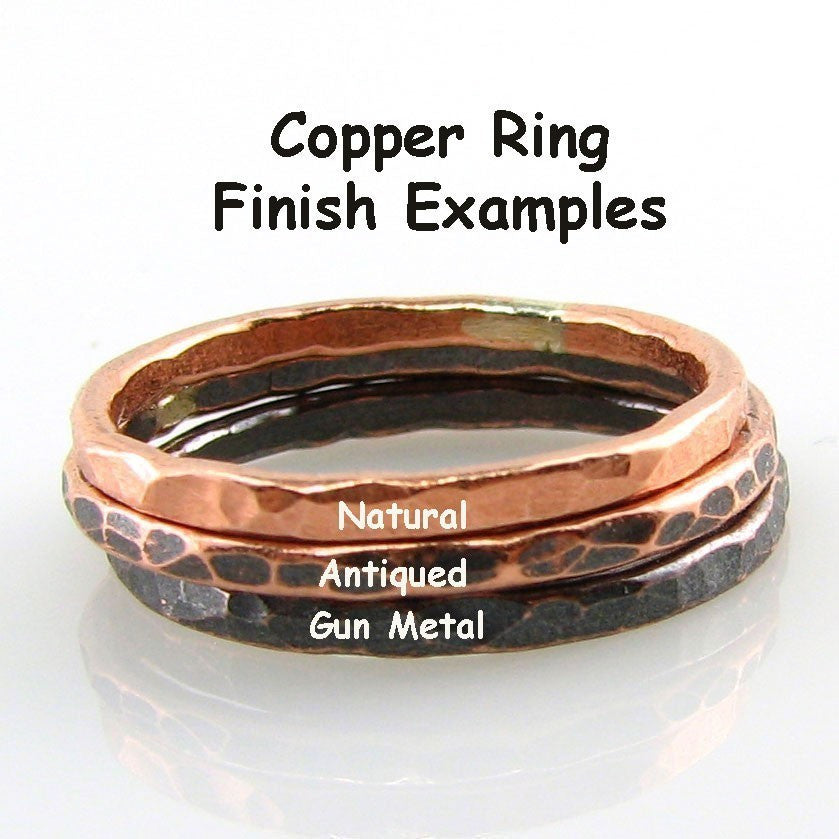 Copper Stacking Ring, Fluted Texture