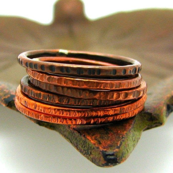 Copper Stacking Ring, Hash Mark Texture