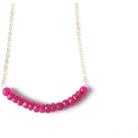 Addie Ruby Stone Beaded Necklace