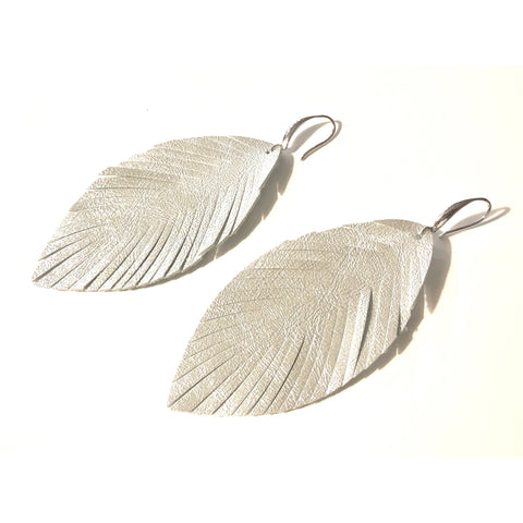 Alyssa Silver Python Embossed Feather Earrings