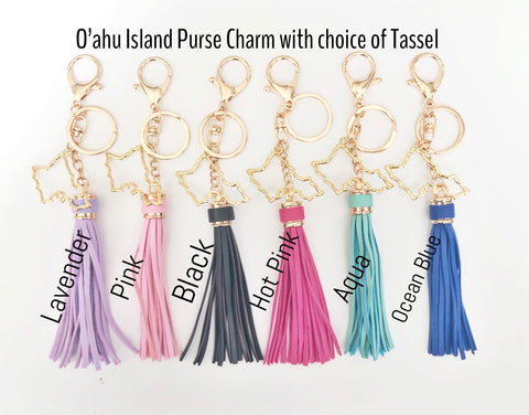Tropical Oahu Island Tassel Keychain (Gold Plated)