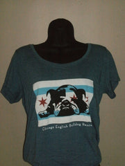 Chicago Flag Denim Blue Scoop Neck Tee (Womens) - Chicago English Bulldog Rescue - eBully Boutique  - 2
