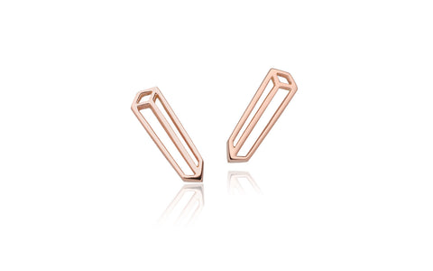 Long cuboid studs - 18ct gold