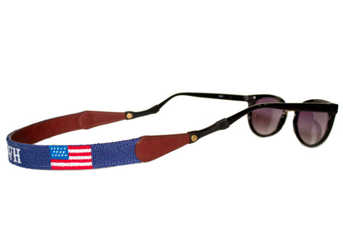 Asher Riley monogrammed American Flag needlepoint sunglass straps