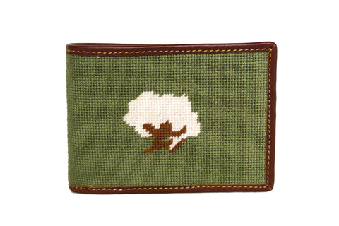 Cottonboll needlepoint wallet by Asher Riley