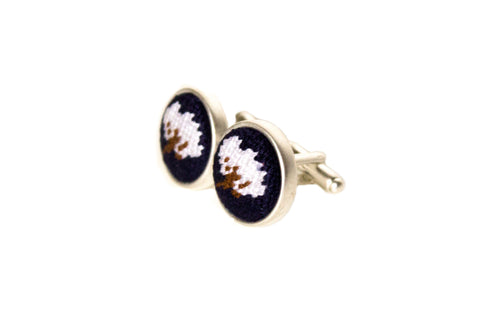 cotton boll needlepoint cufflinks