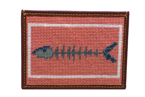 Bone Fish needlepoint Card Wallet by Asher Riley