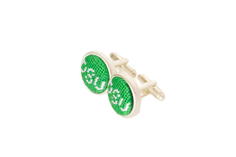 Asher Riley Monogrammed needlepoint cufflinks