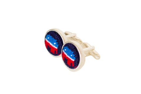 Asher Riley republican elephant needlepoint cufflinks