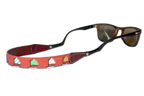 Asher Riley sailboat orange needlepoint sunglass straps
