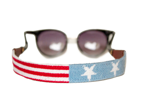 Asher Riley stars and stripes needlepoint sunglass straps