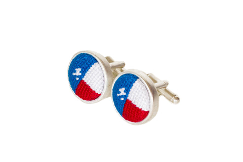 Asher Riley needlepoint Texas Flag cufflinks
